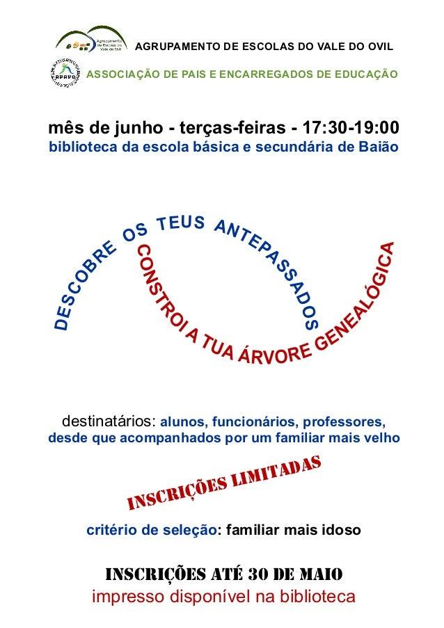 USE AT NS TO EPE ARSBSAODCOSESDmês de junho - terças-feiras - 17:30-19:00biblioteca da escola básica e secundária de Baião...