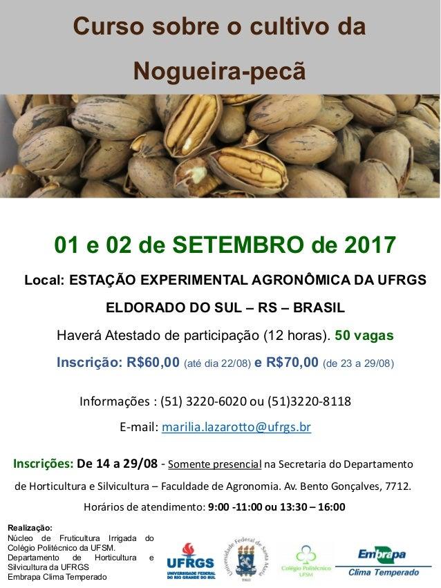 Curso sobre o cultivo da Nogueira-pecã Realização: Núcleo de Fruticultura Irrigada do Colégio Politécnico da UFSM. Departa...