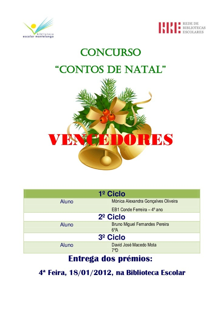 "Concurso    ""Contos de natal""  VENCEDORES                 1º Ciclo      Aluno          Mónica Alexandra Gonçalves Oliveira..."