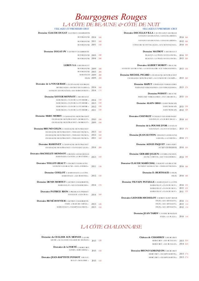 Carte Bourgogne Blanc.Carte Des Vins Restaurant Georges Blanc