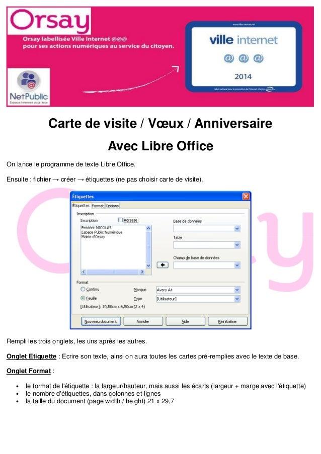 Carte De Visite Voeux Anniversaire Avec Libre Office On Lance Le Programme Texte