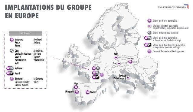 Implantations de psa peugeot citro n en europe - Liste des magasins d usine en france ...