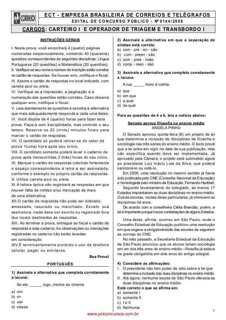 ECT - EMPRESA BRASILEIRA DE CORREIOS E TELÉGRAFOS                                      E D I TA L D E C O N C U R S O P Ú ...