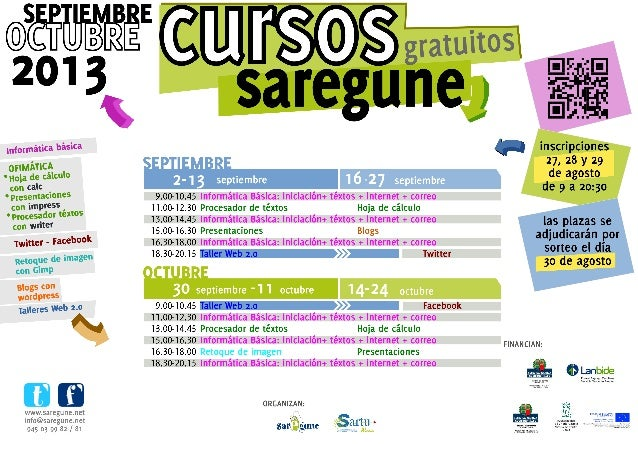 Cursos Saregune septiembre-octubre 2013