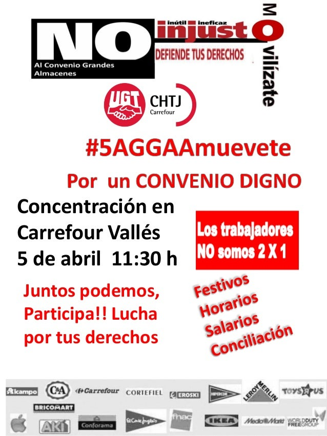 Concentración enCarrefour Vallés5 de abril 11:30 hJuntos podemos,Participa!! Luchapor tus derechos