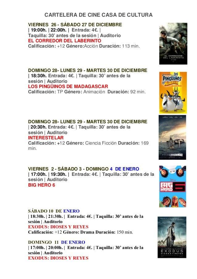 Cartelera diciembre y enero cine casa de cultura - Cines gran casa cartelera ...