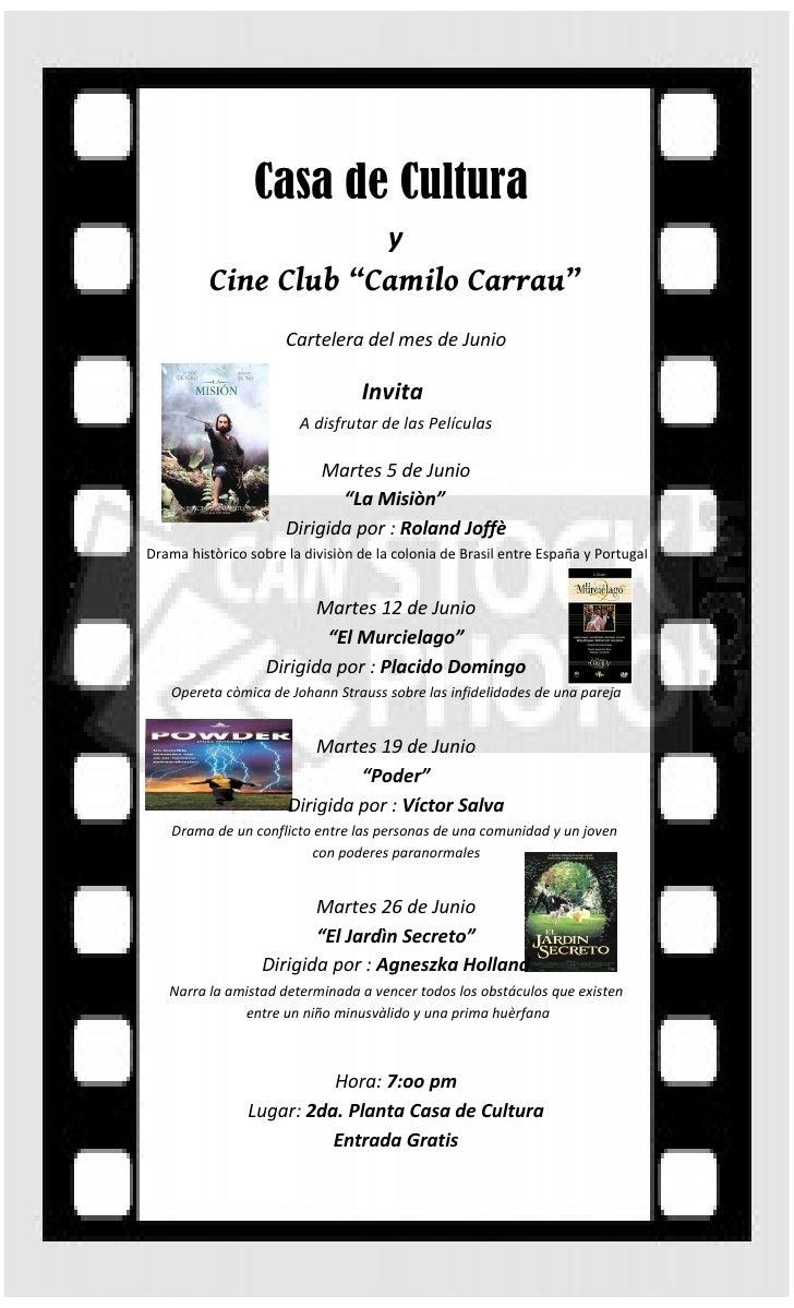 """Casa de Cultura                                       y          Cine Club """"Camilo Carrau""""                      Cartelera ..."""