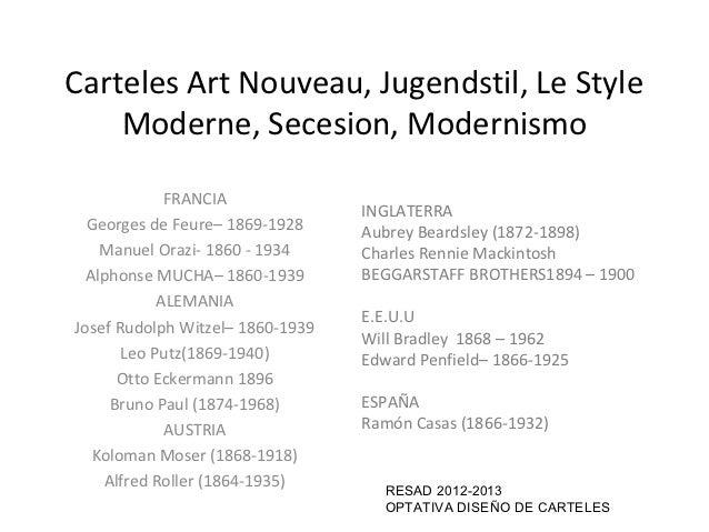 Carteles Art Nouveau, Jugendstil, Le Style    Moderne, Secesion, Modernismo             FRANCIA                           ...
