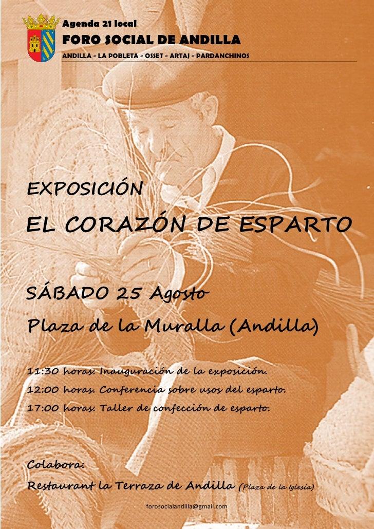 Agenda 21 local       FORO SOCIAL DE ANDILLA       ANDILLA - LA POBLETA - OSSET - ARTAJ - PARDANCHINOS     EXPOSICIÓN  EL ...