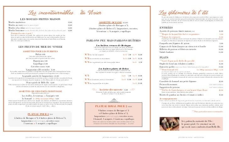 Carte Restaurant Le Vivier Belle Ile En Mer Ete 2012