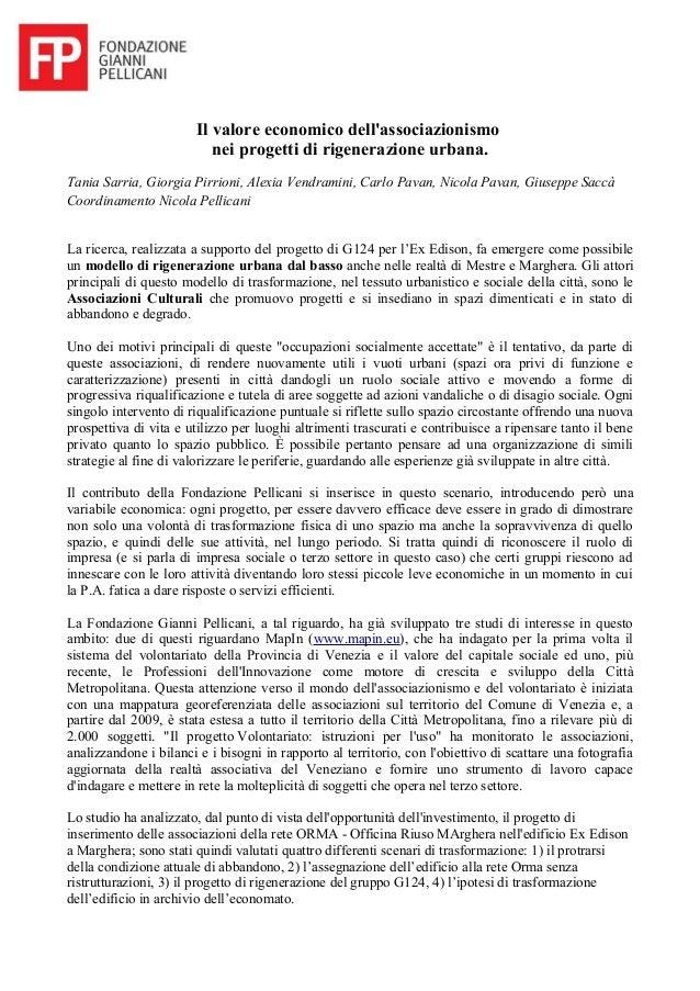 Il valore economico dell'associazionismo nei progetti di rigenerazione urbana. Tania Sarria, Giorgia Pirrioni, Alexia Vend...
