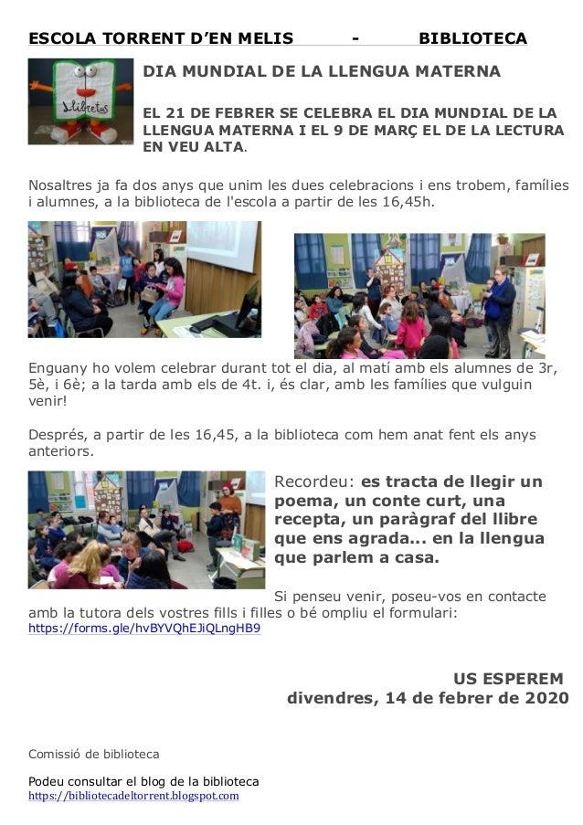 ESCOLA TORRENT D'EN MELIS - BIBLIOTECA  DIA MUNDIAL DE LA LLENGUA MATERNA EL 21 DE FEBRER SE CELEBRA EL DIA MUNDIAL DE LA...