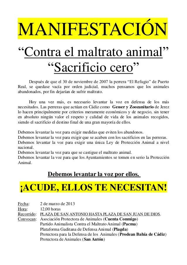 """MANIFESTACIÓN""""Contra el maltrato animal""""    """"Sacrificio cero""""      Después de que el 30 de noviembre de 2007 la perrera """"E..."""