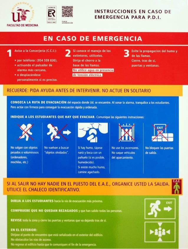 Instrucciones en caso de emergencia