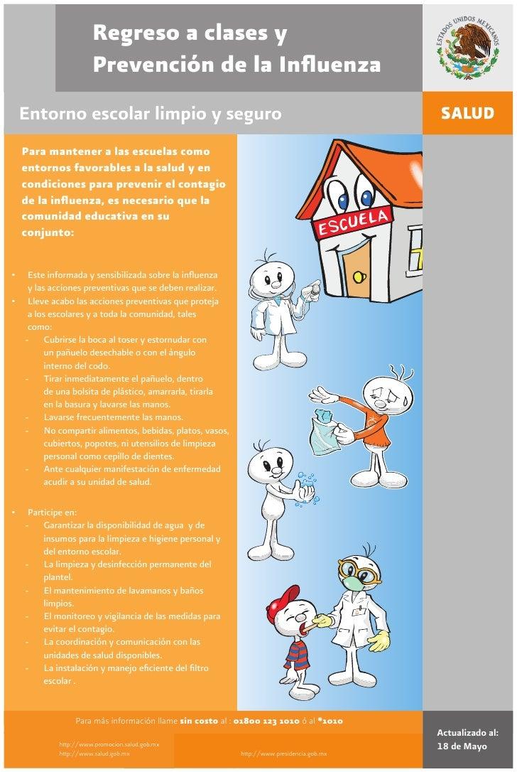 Regreso a clases y                       Prevención de la Influenza     Entorno escolar limpio y seguro     Para mantener a...