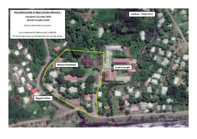 PULVERISATIONS D'INSECTICIDES PREVUES : - Vendredi 12 juillet 2019 - Mardi 16 juillet 2019 Zone concernée en jaune Les tra...