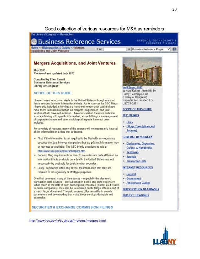 Home  Bibliographies  Guides  Mergers, Acquisitions and Joint Ventures Business Reference Pages VFind in go Wall Street, 1...