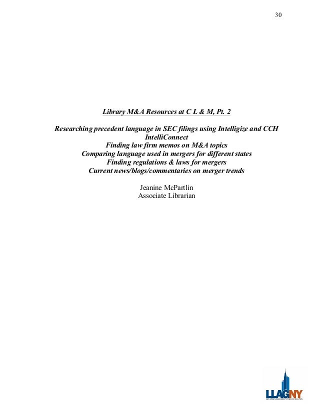 Researching Mergers & Acquisitions: Enhance your research skills, CLE program by LLAGNY & Carter Ledyard & Milburn on Janu...