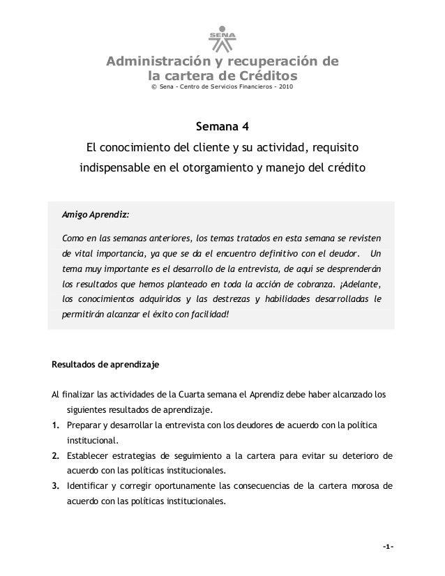 Administración y recuperación de                  la cartera de Créditos                         © Sena - Centro de Servic...