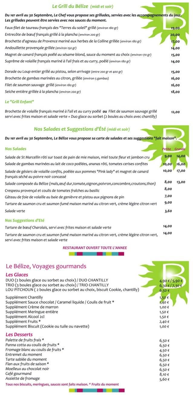 Carte restaurant salades, grillades, suggestions du chef et desserts restaurant le belize cavaillon vaucluse copie