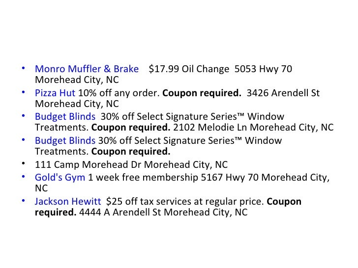 Monro Oil Change Coupon >> Carteret County Local Benefits