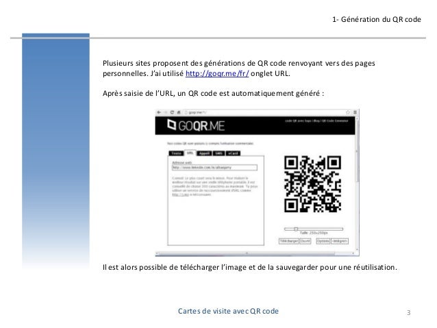 Cartes de visite avec QR code  -  formation pour oasys - avril 2013 - par Alban Jarry Slide 3