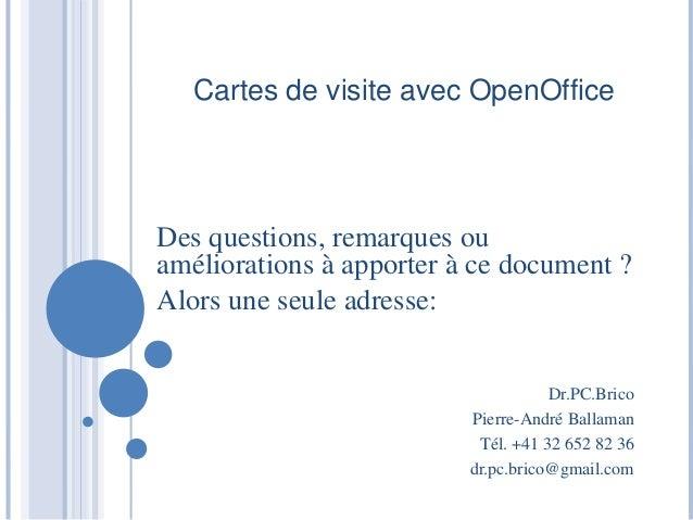 Cartes De Visites Open Office