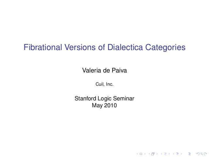 Fibrational Versions of Dialectica Categories                Valeria de Paiva                     Cuil, Inc.              ...