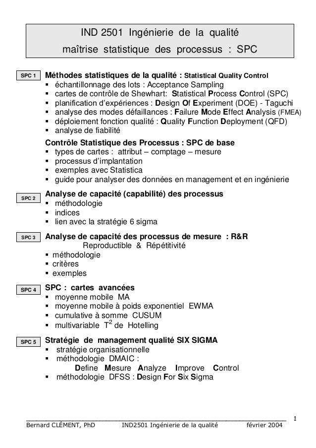 IND 2501 Ingénierie de la qualité            maîtrise statistique des processus : SPCSPC 1   Méthodes statistiques de la q...