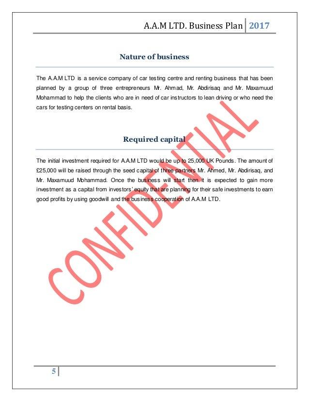 car hire business plan pdf