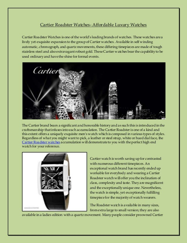 Cartier Roadster Watches- Affordable Luxury Watches Cartier Roadster Watches is one of the world's leading brands of watch...