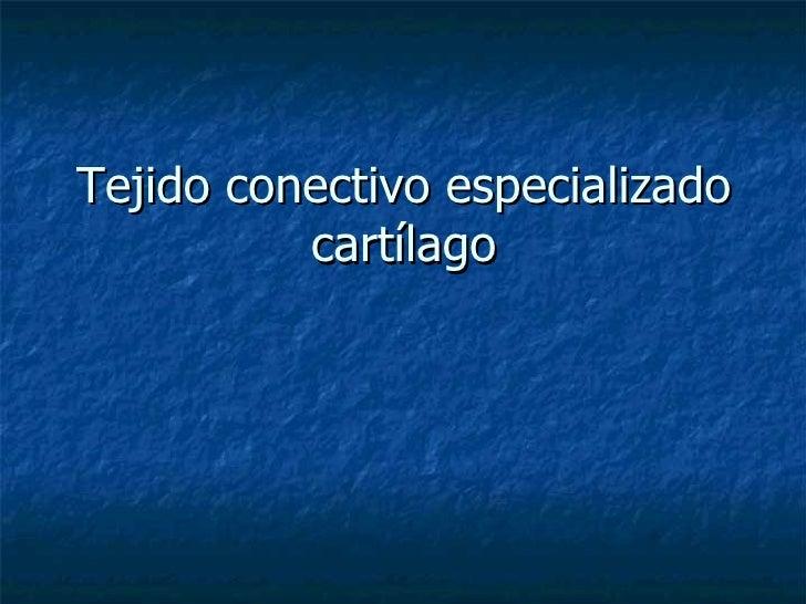 Tejido conectivo especializado cartílago