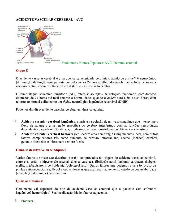ACIDENTE VASCULAR CEREBRAL - AVC                                       Sinônimos e Nomes Populares: AVC, Derrame cerebral....