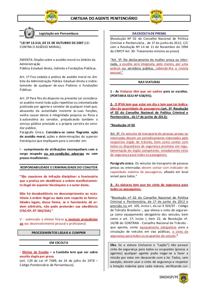CARTILHA DO AGENTE PENITENCIÁRIO             Legislação em Pernambuco                                     DA ESCOLTA DE PR...