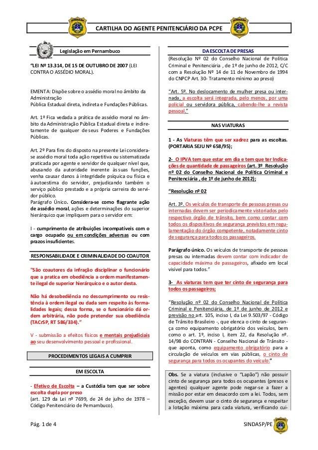 """Pág.1de4  SINDASP/PE CARTILHADOAGENTEPENITENCIÁRIODAPCPE   LegislaçãoemPernambuco  """"LEINº13.314,D..."""