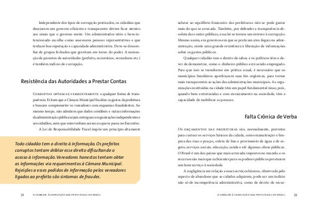 o combate à corrupção nas prefeituras do brasil34 o combate à corrupção nas prefeituras do brasil 35 sos públicos. Esses s...