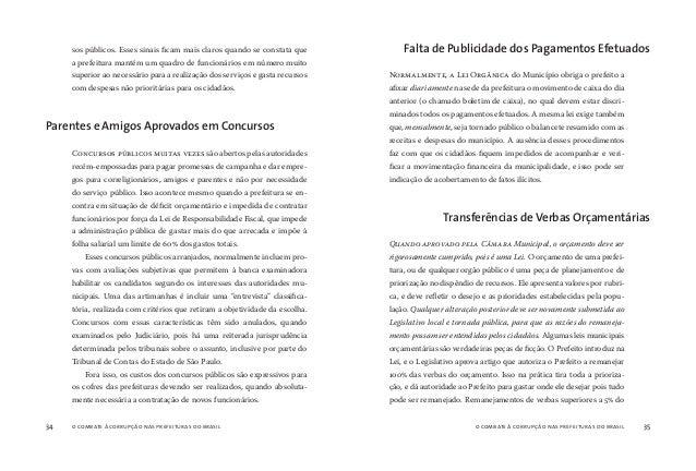 o combate à corrupção nas prefeituras do brasil36 o combate à corrupção nas prefeituras do brasil 37 orçamento são inaceit...