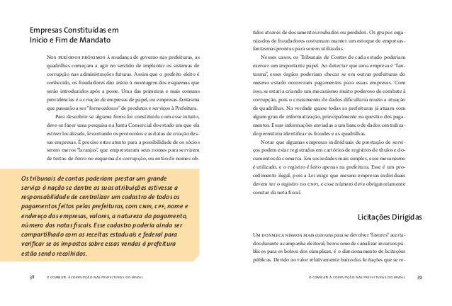 o combate à corrupção nas prefeituras do brasil40 o combate à corrupção nas prefeituras do brasil 41 alizam nas prefeitura...
