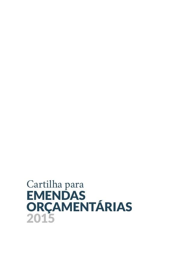 Cartilha para EMENDAS ORÇAMENTÁRIAS 2015