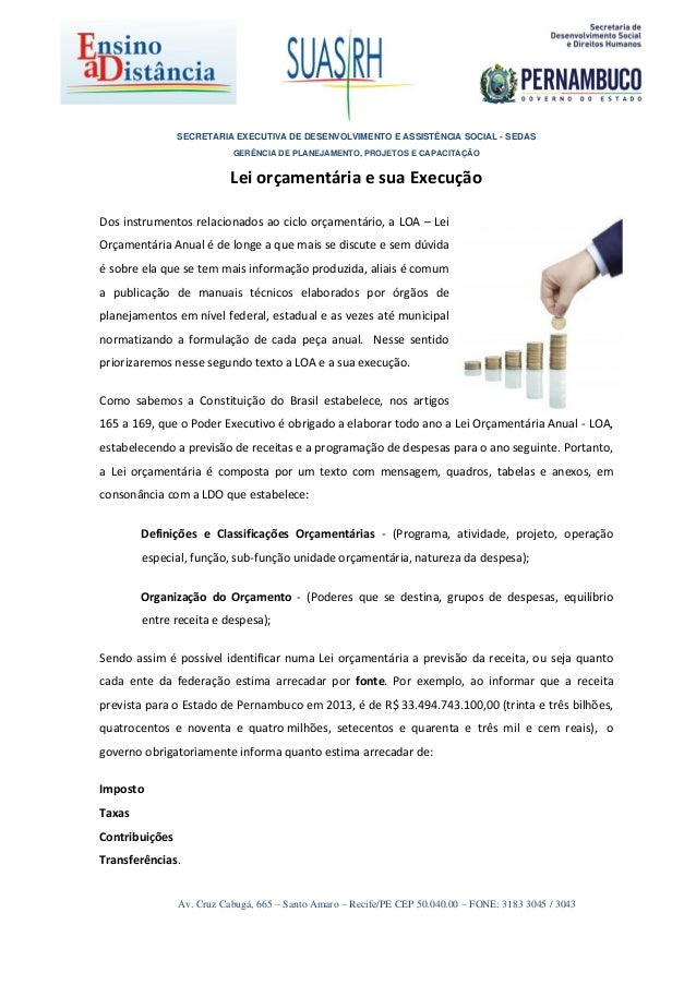 SECRETARIA EXECUTIVA DE DESENVOLVIMENTO E ASSISTÊNCIA SOCIAL - SEDAS GERÊNCIA DE PLANEJAMENTO, PROJETOS E CAPACITAÇÃO Av. ...