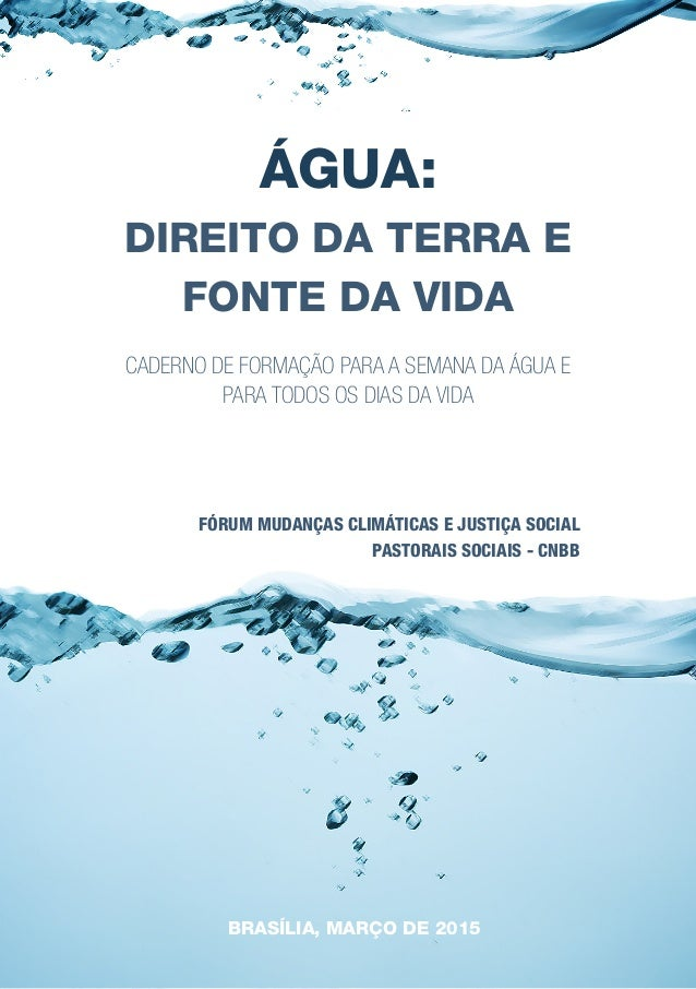 1 FÓRUM MUDANÇAS CLIMÁTICAS E JUSTIÇA SOCIAL PASTORAIS SOCIAIS - CNBB ÁGUA: DIREITO DA TERRA E FONTE DA VIDA CADERNO DE FO...