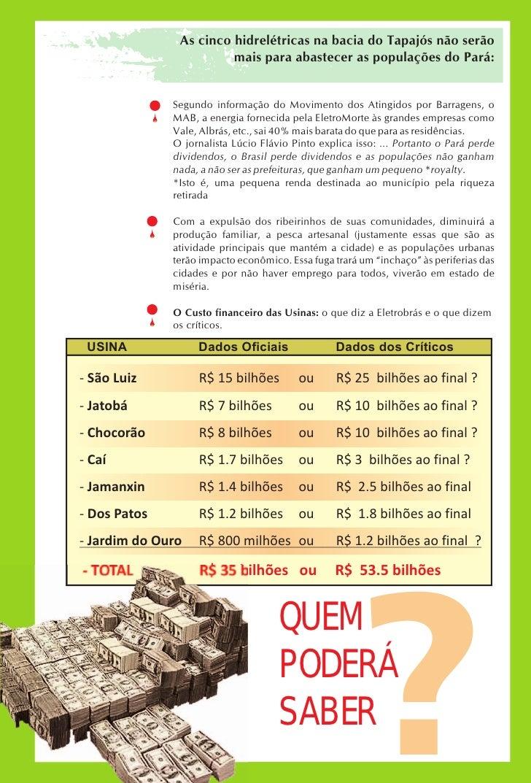 As cinco hidrelétricas na bacia do Tapajós não serão                         mais para abastecer as populações do Pará:   ...