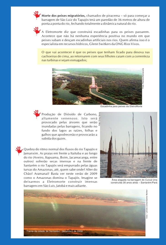 Morte dos peixes migratórios, chamados de piracema – só para começar a              barragem de São Luiz do Tapajós terá u...