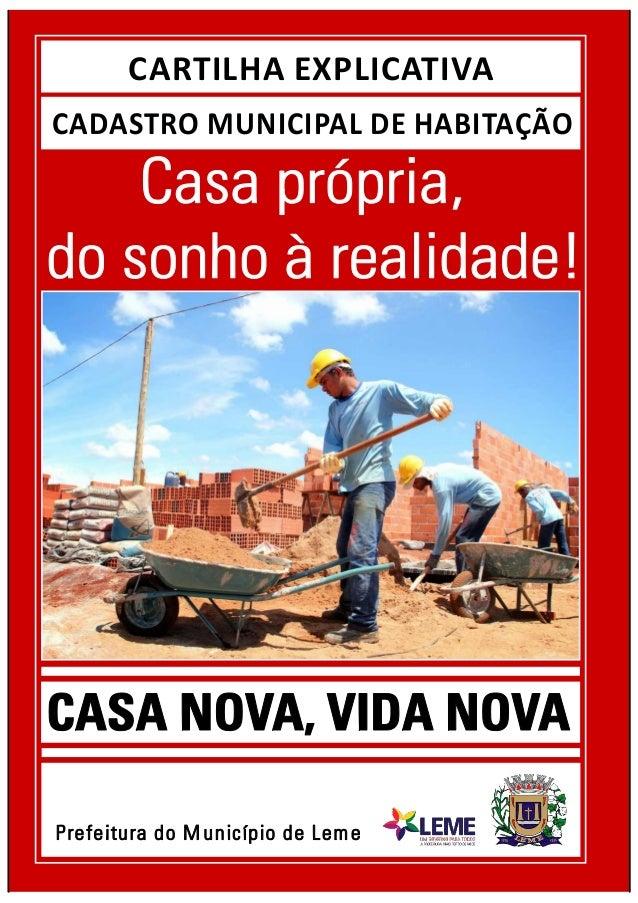 CADASTRO MUNICIPAL DE HABITAÇÃO CARTILHA EXPLICATIVA