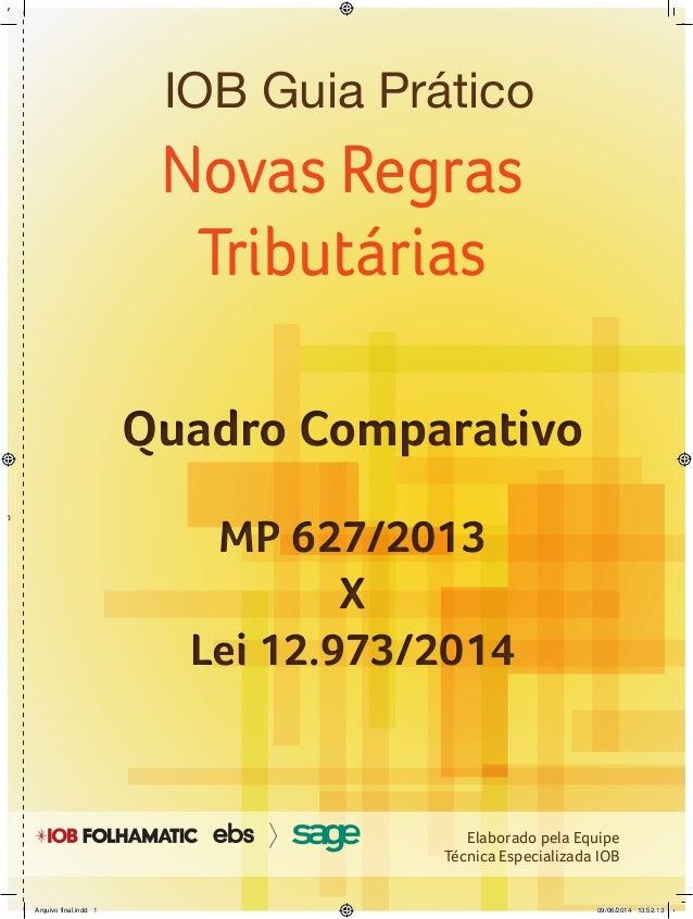 IOBGuiaPrático-NovasRegrasTributárias-MP627/2013xLei12.973/2014 Novas Regras Tributárias Quadro Comparativo MP 627/2013 X ...