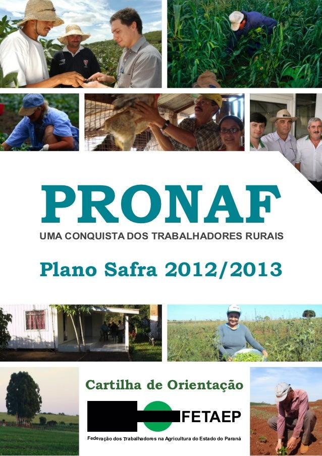 PRONAFUMA CONQUISTA DOS TRABALHADORES RURAISPlano Safra 2012/2013       Cartilha de Orientação                            ...