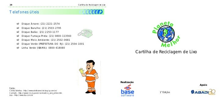 28                                                               Cartilha de Reciclagem de LixoTelefones úteis        c   ...