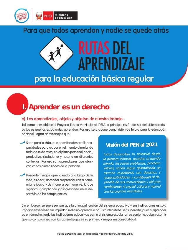 1Para que todos aprendan y nadie se quede atráspara la educación básica regulara) Los aprendizajes, objeto y objetivo de n...