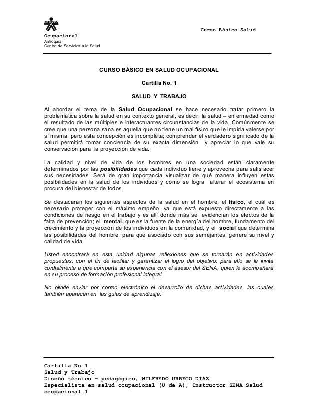 Curso Básico Salud Ocupacional Antioquia Centro de Servicios a la Salud CURSO BÁSICO EN SALUD OCUPACIONAL Cartilla No. 1 S...