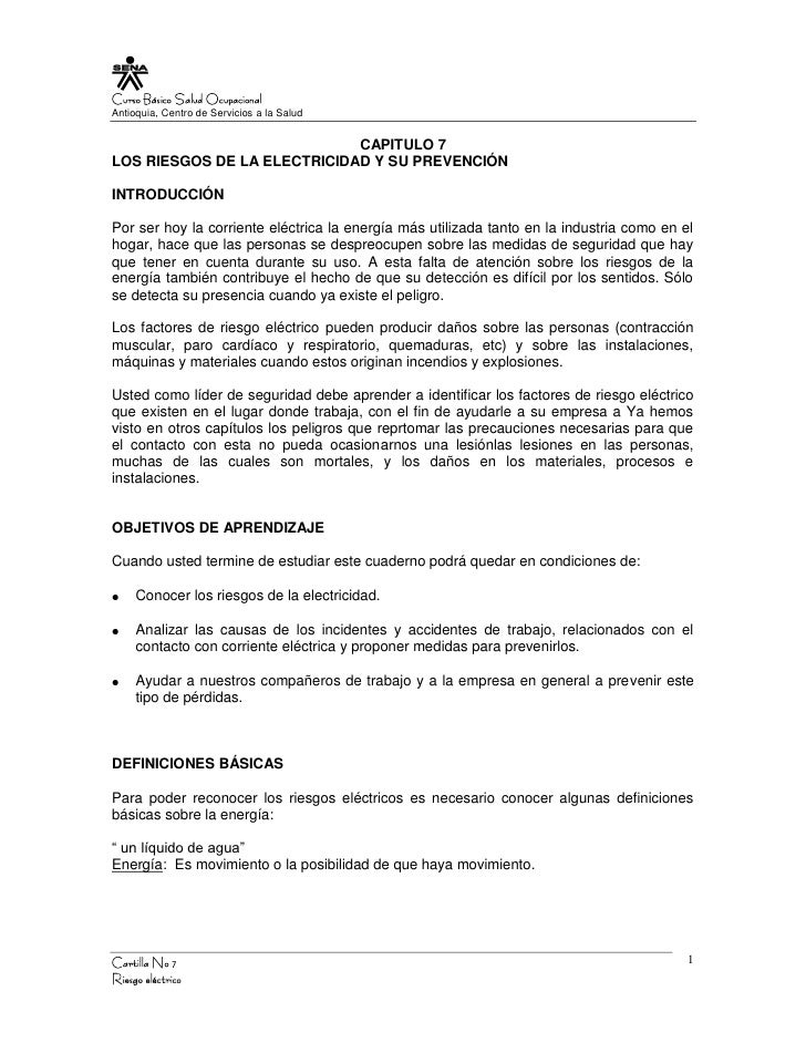 Curso Básico Salud Ocupacional Antioquia, Centro de Servicios a la Salud                                CAPITULO 7 LOS RIE...